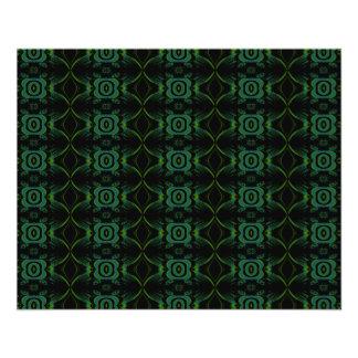 Modèle floral vert et noir prospectus 11,4 cm x 14,2 cm