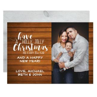 Modèle gai de carte photo de Noël de houx Carton D'invitation 12,7 Cm X 17,78 Cm