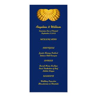Modèle grand de menu de mariage de plage d'or de carton d'invitation  10,16 cm x 23,49 cm