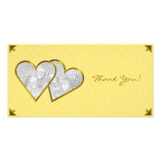 Modèle jaune de carte photo de damassé de coeurs photocartes personnalisées