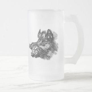 Modèle méchant vintage de défenses du sanglier W Mug En Verre Givré
