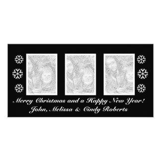 Modèle noir | de carte photo de Noël trois photos Photocartes