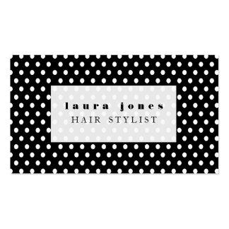 Modèle noir et blanc de coiffeur de pois carte de visite standard