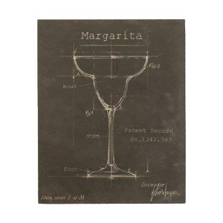 Modèle noir et blanc en verre de margarita impressions sur bois