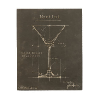 Modèle noir et blanc en verre de Martini Décoration Murale Sur Bois