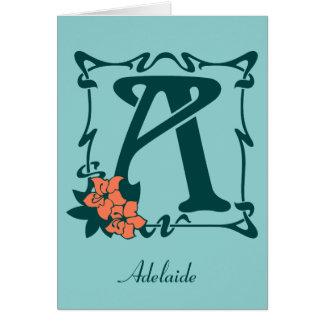 Modèle personnalisable de fantaisie de la lettre A Cartes De Vœux