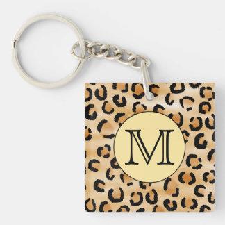 Modèle personnalisé d'empreinte de léopard de mono porte-clé carré en acrylique une face