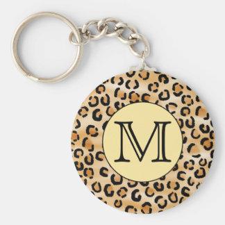 Modèle personnalisé d'empreinte de léopard de mono porte-clé rond
