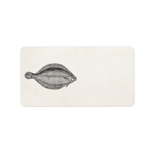 Modèle personnalisé par poissons vintages de flet étiquette d'adresse