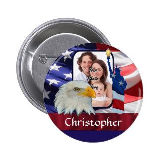 Modèle photo américain patriotique d'icône pin's