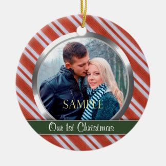 Modèle photo de Noël de rayures de sucrerie Ornement Rond En Céramique