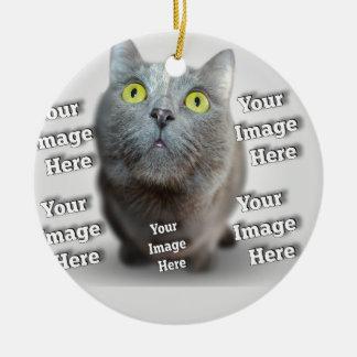 Modèle photo personnalisable affectueux d'animal ornement rond en céramique