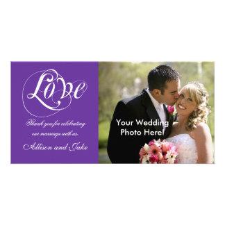 Modèle pourpre de carte photo de Merci de mariage Photocarte