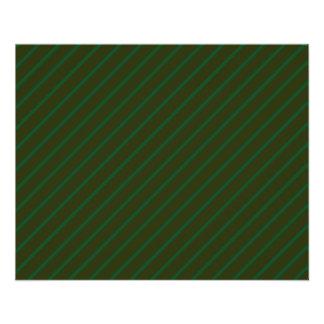 Modèle rayé diagonal vert-foncé prospectus 11,4 cm x 14,2 cm
