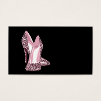 Modèle rose de carte de visite de chaussure de