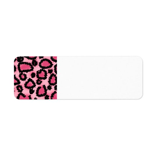 Modèle rose et noir d'empreinte de léopard étiquettes d'adresse retour
