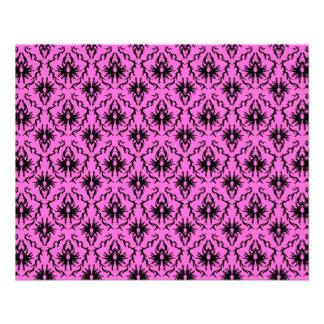 Modèle rose et noir lumineux de damassé prospectus avec motif