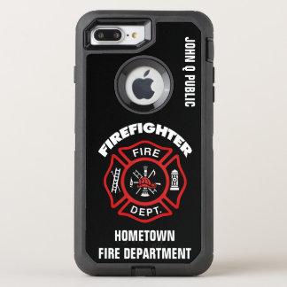 Modèle rouge de nom de sapeur-pompier coque OtterBox defender iPhone 8 plus/7 plus