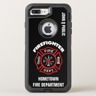 Modèle rouge de nom de sapeur-pompier coque otterbox defender pour iPhone 7 plus