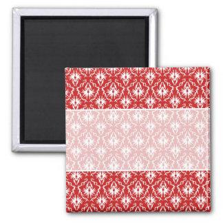 Modèle rouge et blanc lumineux de damassé magnet carré