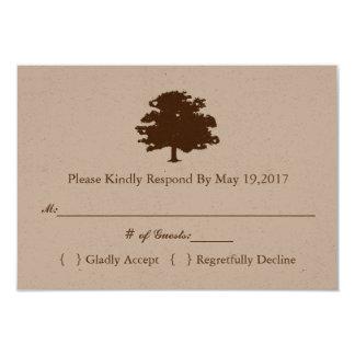 Modèle rustique de carte de réponse de mariage de carton d'invitation 8,89 cm x 12,70 cm