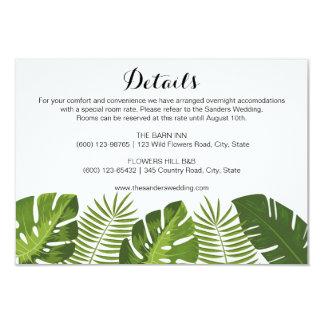 Modèle tropical de carte d'insertion de mariage de carton d'invitation 8,89 cm x 12,70 cm