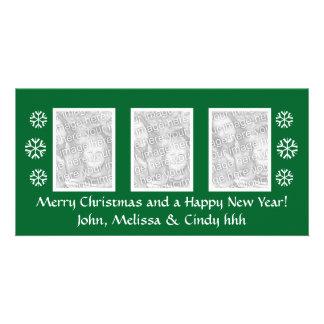 Modèle vert | de photocard de Noël trois photos Cartes Avec Photo
