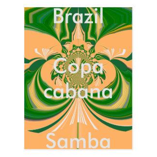 Modèle vert d'or rouge de carte postale du Brésil