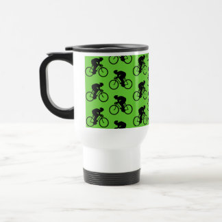 Modèle vert et noir de bicyclette mug de voyage