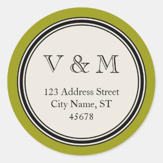 Modèle vintage de joint d'adresse de retour de sticker rond