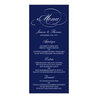 Modèles élégants de menu de mariage de bleu marine