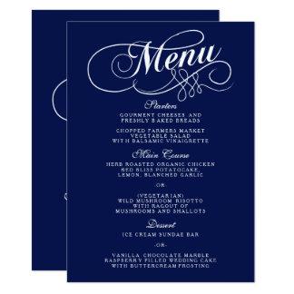 Modèles élégants de menu de mariage de bleu marine carton d'invitation  11,43 cm x 15,87 cm