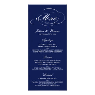 Modèles élégants de menu de mariage de bleu marine double cartes customisées