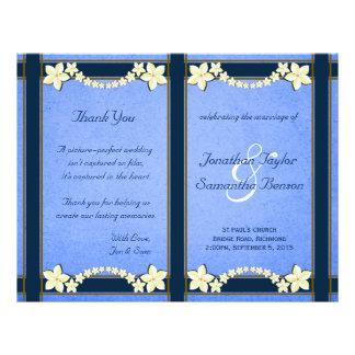Modèles floraux bleus rustiques de programme de prospectus 21,6 cm x 24,94 cm