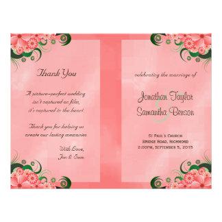 Modèles floraux roses de programme de mariage de prospectus 21,6 cm x 24,94 cm
