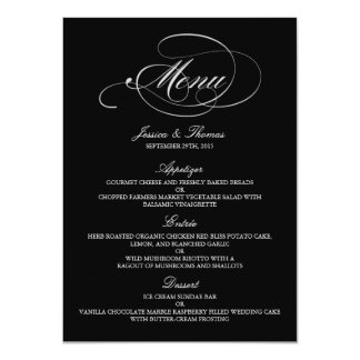 Modèles noirs et blancs élégants de menu de carton d'invitation  11,43 cm x 15,87 cm