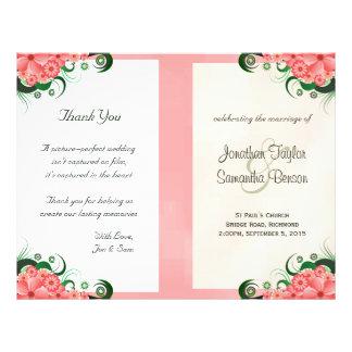 Modèles roses floraux de programme de mariage de prospectus 21,6 cm x 24,94 cm