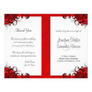 Modèles rouges floraux de programme de mariage de prospectus 21,6 cm x 24,94 cm