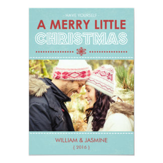 Modern Blue Merry Little Christmas Flat Card Personalized Invitations