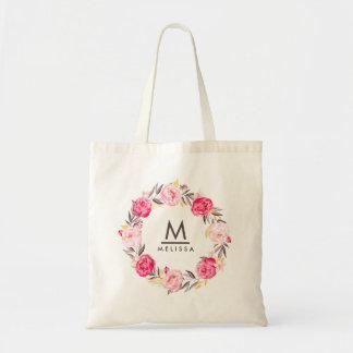 Moderne élégant floral de monogramme rose sac