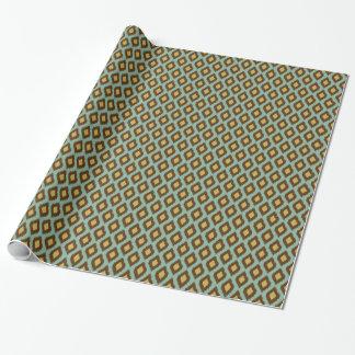 Moderne jaune bleu d'ikat tribal moderne papier cadeau