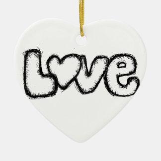moderne simple blanc de noir de griffonnage ornement cœur en céramique