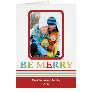 Moderne SOYEZ JOYEUSE carte de Noël colorée