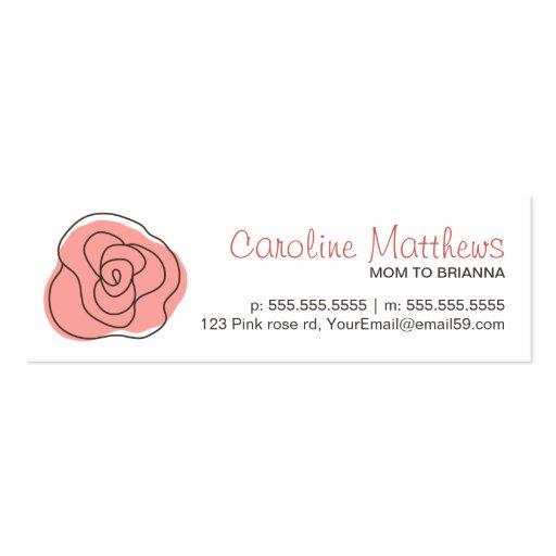 Moderne télécarte rose de rose de maman de maman d carte de visite