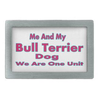 Moi et mon chien de bull-terrier boucle de ceinture rectangulaire