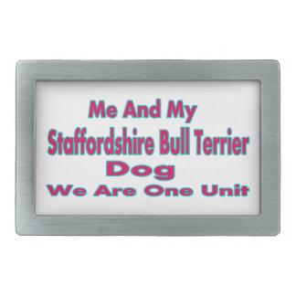 Moi et mon chien de bull-terrier du Staffordshire Boucles De Ceinture Rectangulaires