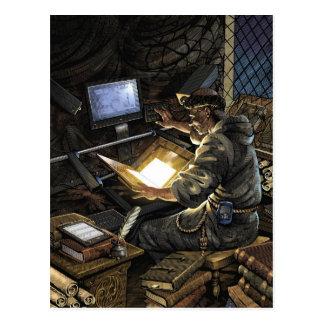 Moine avec la carte postale de scanner de livre