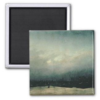 Moine par la mer, 1809 magnet carré