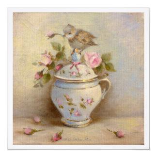 Moineau de bébé, bouton de rose crème de ✿ de pot carton d'invitation  13,33 cm