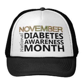 Mois de conscience de diabète de novembre de casquettes